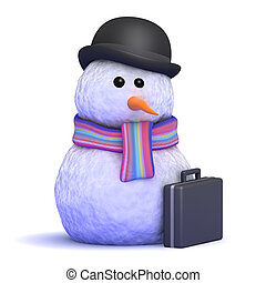 3d Business snowman - 3d render of a snowman ready for...