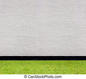 white brick wall with black horizontal seamless pattern and lawn