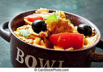 Italian pasta with sauce in a bowl