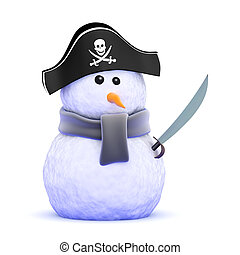 3d Pirate snowman with cutlass - 3d render of a snowman...