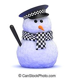 3d Police snowman - 3d render of a snowman policeman