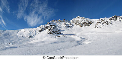Alpine panorama (Skiing area near Scuol, Switzerland)