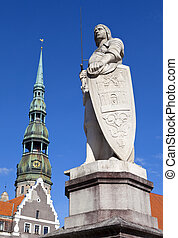 St. Roland Statue and St. Peter's Church in Riga - Statue of...