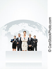 Business people standing in front of an earth map