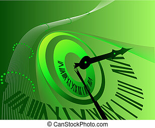Background with clock - Green Background with clock