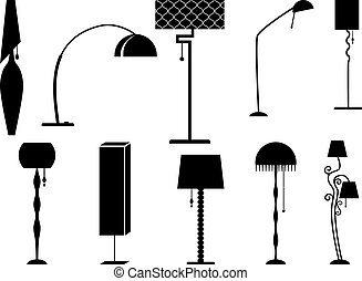 Sets of silhouette Lamp and Chandelier, vector illustration