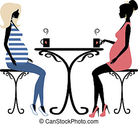 Silhouette of two fashionable pregnant women, vector...