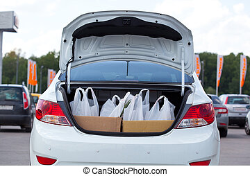 Shopping bags into the car trunk