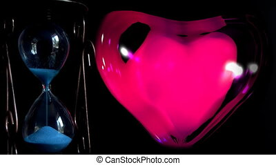 hourglass next to the red beating heart
