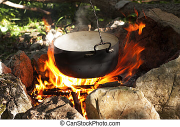 Pot on the fire - Pot water on the fire, tourists kettle on...