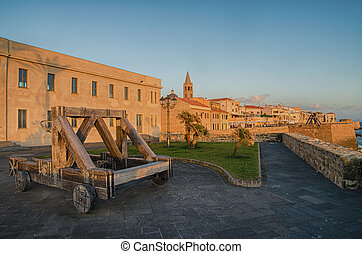 Alghero, Sardinia Island, Italy in the sunset