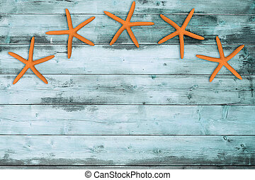 five sea stars on a turquoise wooden board