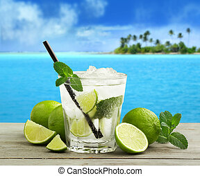 cuban mojito - mojito cocktail and fresh ingredients in a...