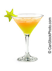 tropical cocktail with starfruit on white background