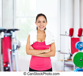 Woman gym smile, sport exercising girl working out - Woman...