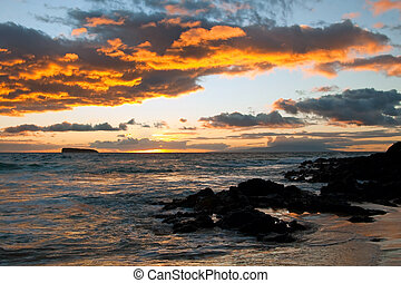 Beautiful sunset on Maui Island Hawaii
