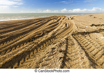 Caterpillar Tracks from digger on stony beach - Light and...