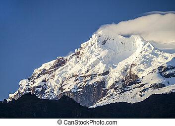 nieve, Terminar, Antisana, volcán, Ecuador