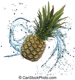 Fresh Pineapple with water splash