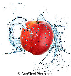 Fresh Nectarine with water splash over white background