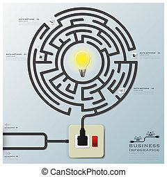 Maze Light Bulb Electric Wire Line Business Infographic