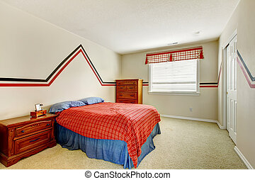 Bedroom with painted wall and bright colors bed - Ivory...