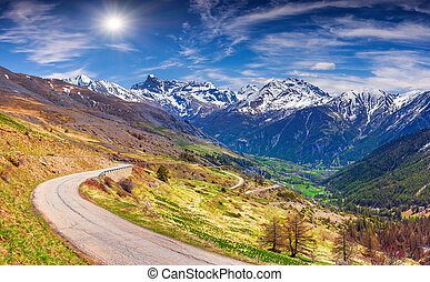 View from the pass Col de Vars Alps, France