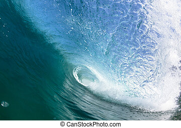 Ocean Hollow Tube Wave Swimming - Ocean sea wave inside...