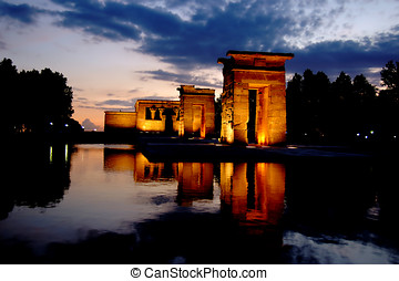 Temple of Debod in Madrid at night - Horizontal image of the...