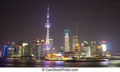 Night timelapse of Shanghai - Pudong view on the Bund...