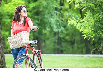 面白い, 女の子, 公園, 自転車