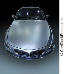 silvery sports car - prestige silvery sports car on gradient...