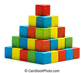 toy blocks pyramid, multicolor wooden bricks stack isolated