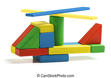 toy helicopter, multicolor wooden blocks air transport...