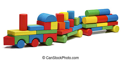 toy train goods van, wooden blocks cargo railway...