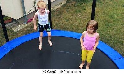 Trampoline - Children's fun on garden trampoline