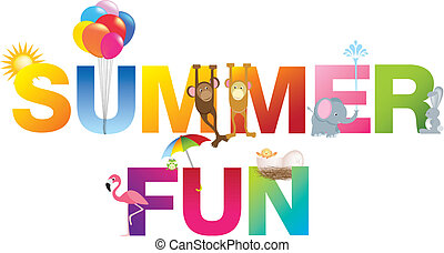 summer fun word in childrens alphabet typeface