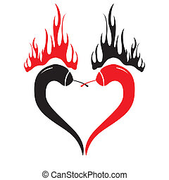 Two chili peppers forming a shape of heart. Hot lover...