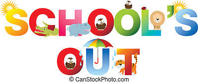 schools out word in childrens alphabet typeface