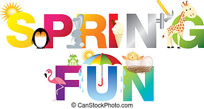 spring fun word in childrens alphabet typeface
