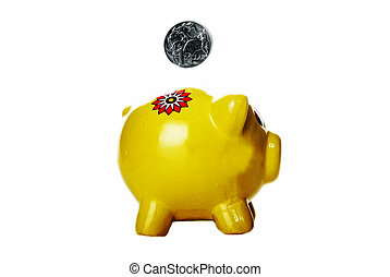 Piggy Bank - Yellow Piggy Bank against white background