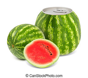 Melon juice - Photo of can with fruit - melon juice concept