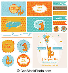 Baby Shower Cute Foxes Set - for Party Decoration, Scrapbook, Baby Shower - in vector