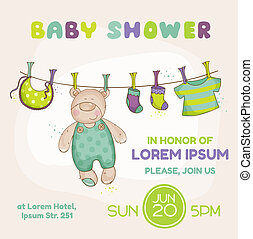 Baby Bear Shower Card - with place for your text - in vector