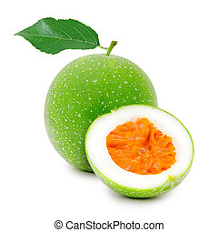 Maracuja - Photo of maracuja fruit with slice isolated on...