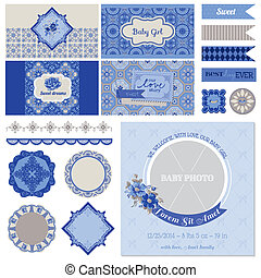 Baby Shower Flower Party Set - for Scrapbook, Party Decoration, Baby Shower - in vector