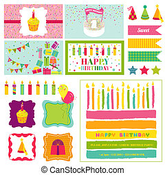 Birthday Party Invitation Set - for Birthday, Baby Shower, Party Decoration - in vector
