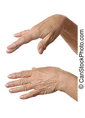 Senior Woman hands on a white background