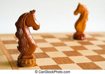 dos, ajedrez, caballos