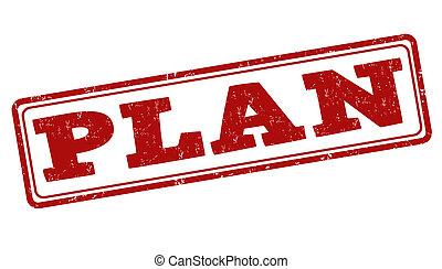 Plan stamp - Plan grunge rubber stamp on white, vector...